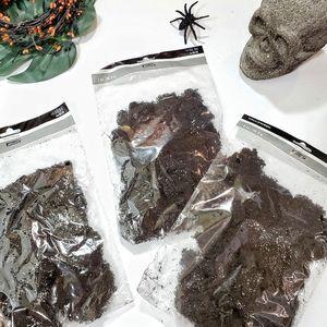 Halloween (3) Bags Black Fall Glitter Moss for Home Decor Wreaths Garland Skulls